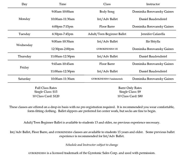 Open Adult Schedule – July 10 2017
