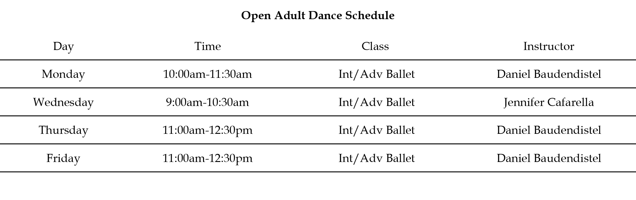 Open Adult Schedule – November 1 2017