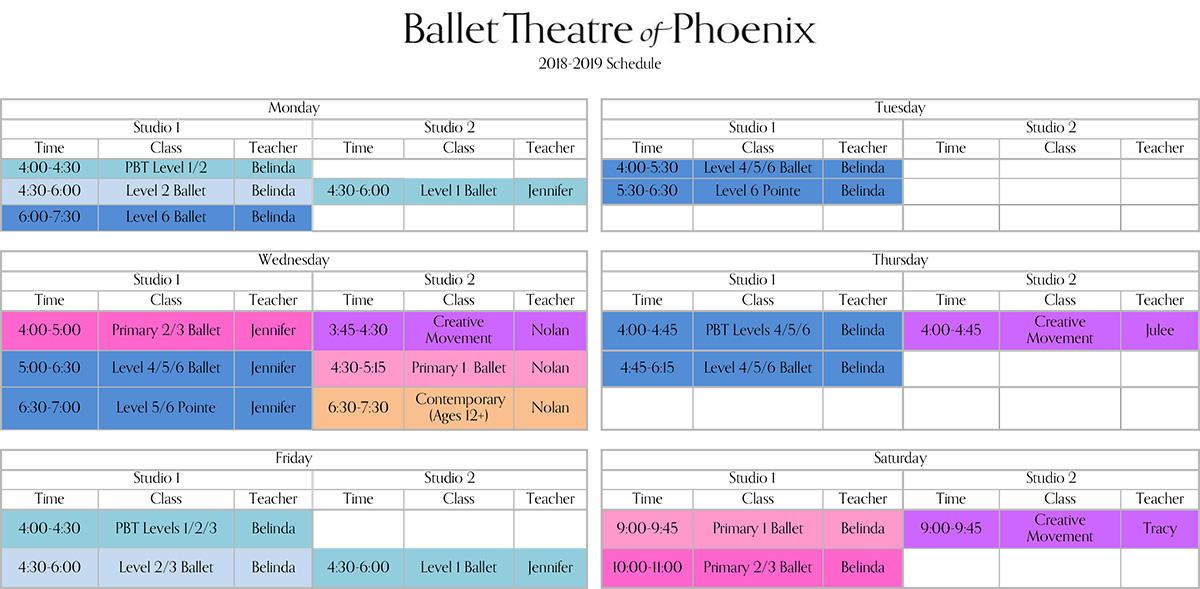 Class Schedule – Ballet Theatre of Phoenix