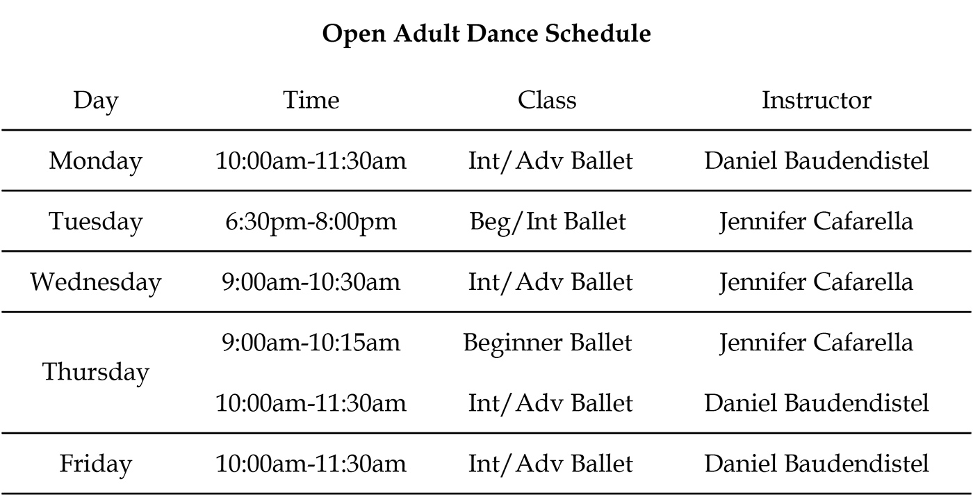 Open Adult Schedule – May 15 2019