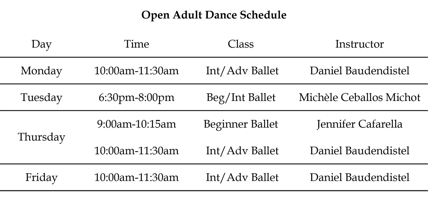 Open Adult Schedule 8-10-19
